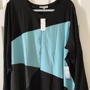 Ponte knit black and aqua jacket/cardigan
